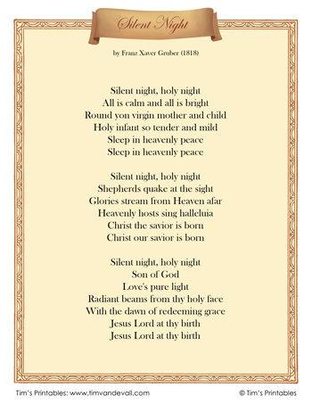 Silent-Night-Lyrics-350-350x453 Old World Letter Template on