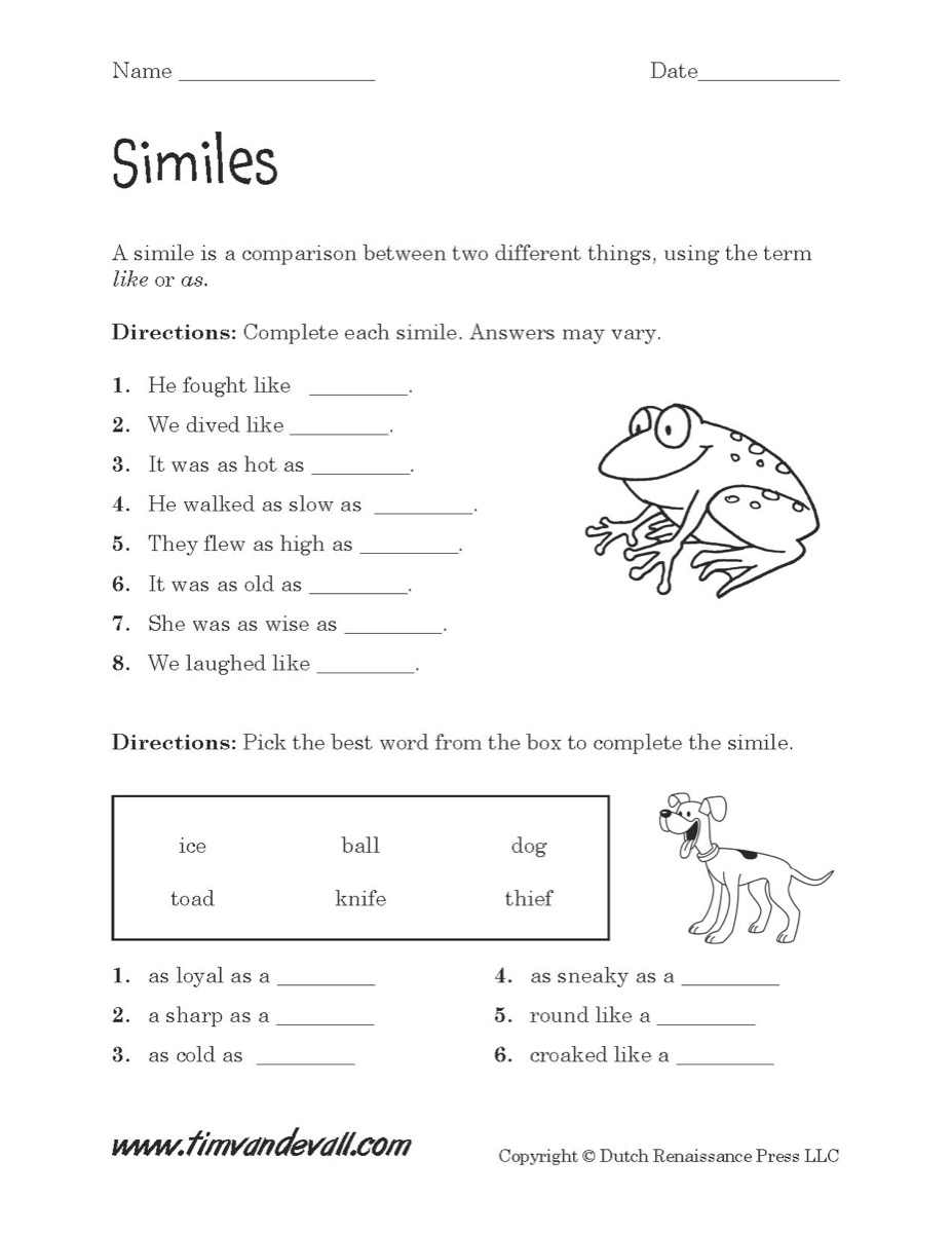worksheet Simile Worksheets printable simile worksheets language arts pdfs worksheet
