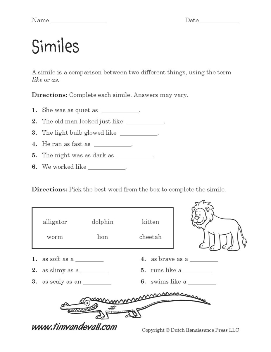 Similes Worksheet 01 - Tim\'s Printables