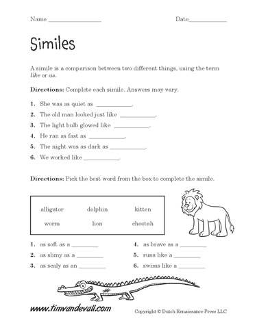 Worksheet Simile Worksheets printable simile worksheets language arts pdfs worksheets