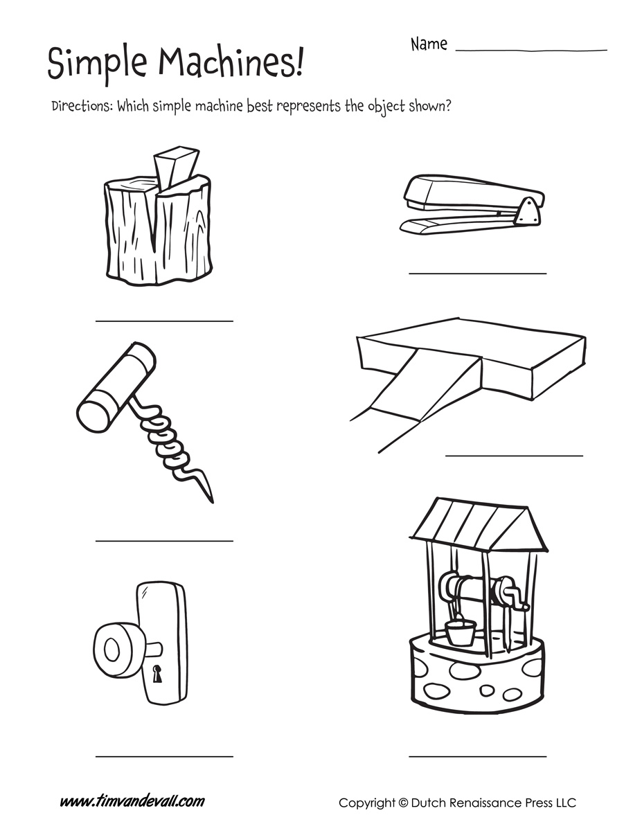 Simple Machine Examples Worksheet - Tim's Printables