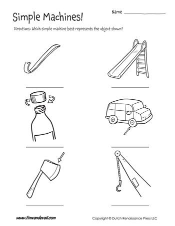 simple machines worksheet for kids
