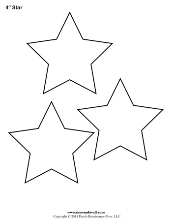 picture regarding 50 Star Stencil Printable named Star Template - 4 Inch - Tims Printables