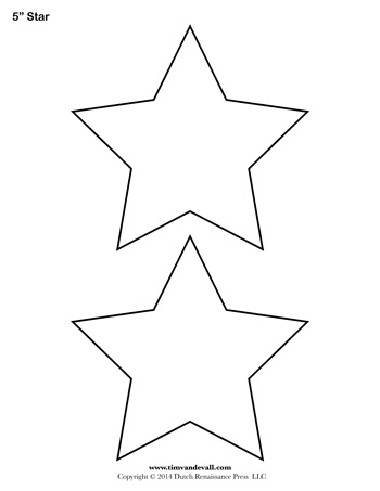 photograph about Star Templates Printable named Star Template - 5 Inch - Tims Printables