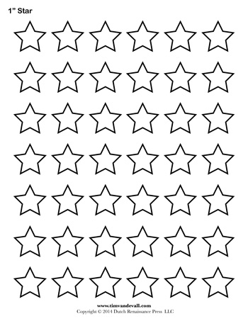 image relating to Printable Stars named Star Template - 1 Inch - Tims Printables