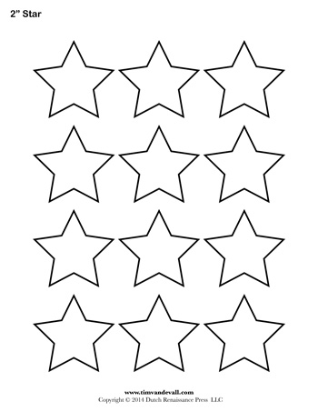 photograph about Printable Stars named Star Template - 2 Inch - Tims Printables