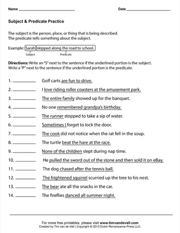 subject predicate worksheet 03 tim 39 s printables. Black Bedroom Furniture Sets. Home Design Ideas