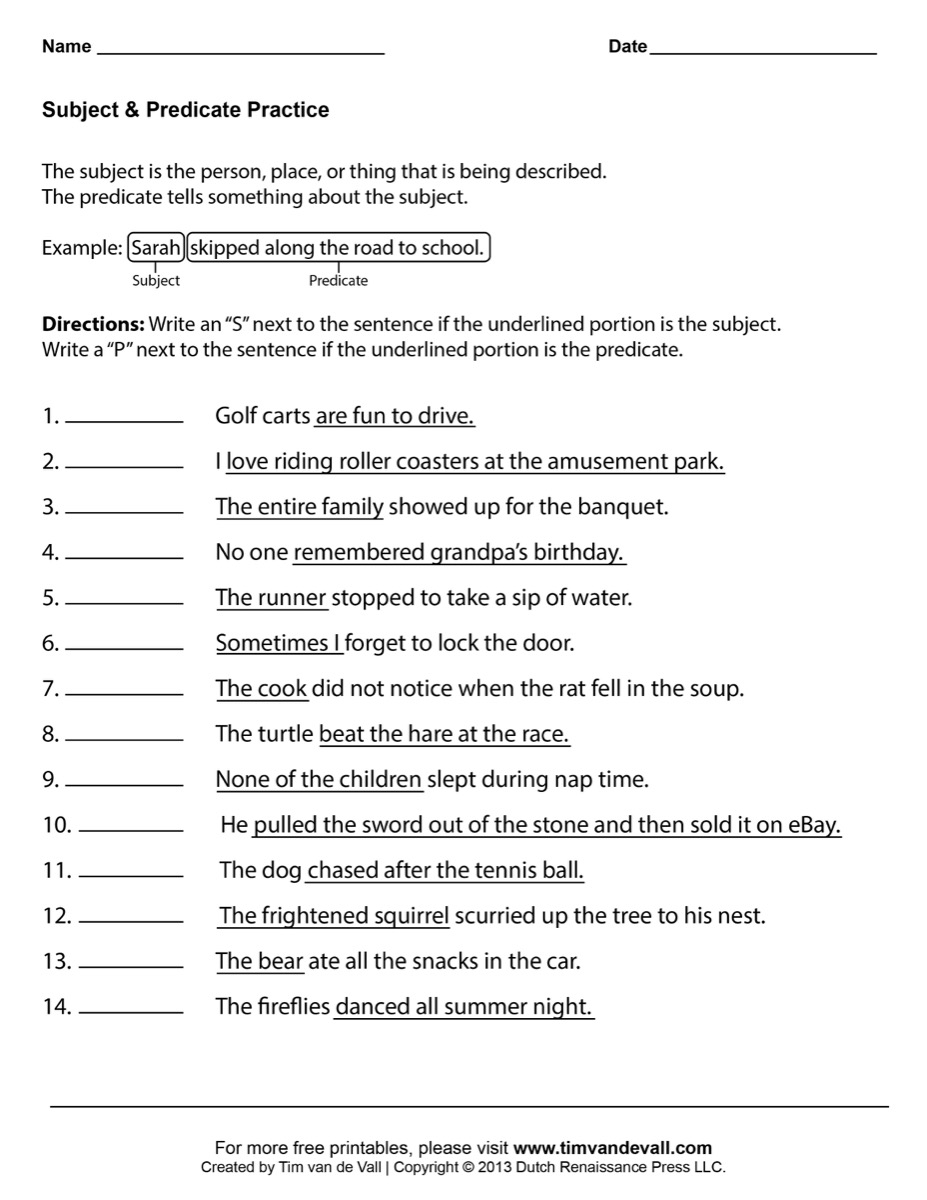 Printables Subject Predicate Worksheet Gozoneguide Thousands of – Predicate Worksheets