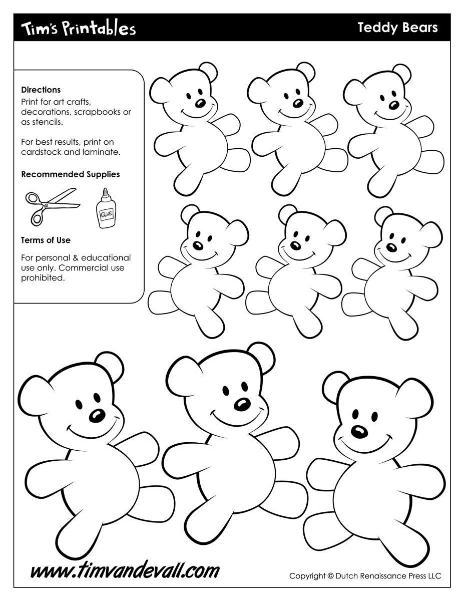 worksheet Teddy Bear Worksheets teddy bear templates tims printables templates