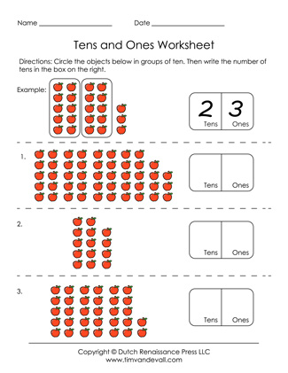 math worksheet : free printable tens and ones worksheets for grade 1 : Math Tens And Ones Worksheets