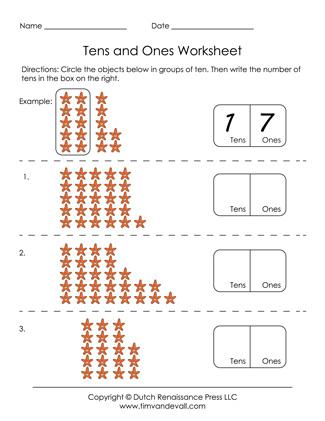 Printable Tens and Ones Worksheet