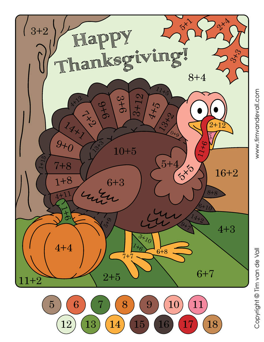 Thanksgiving Color by Numbers! Addition & Subtraction