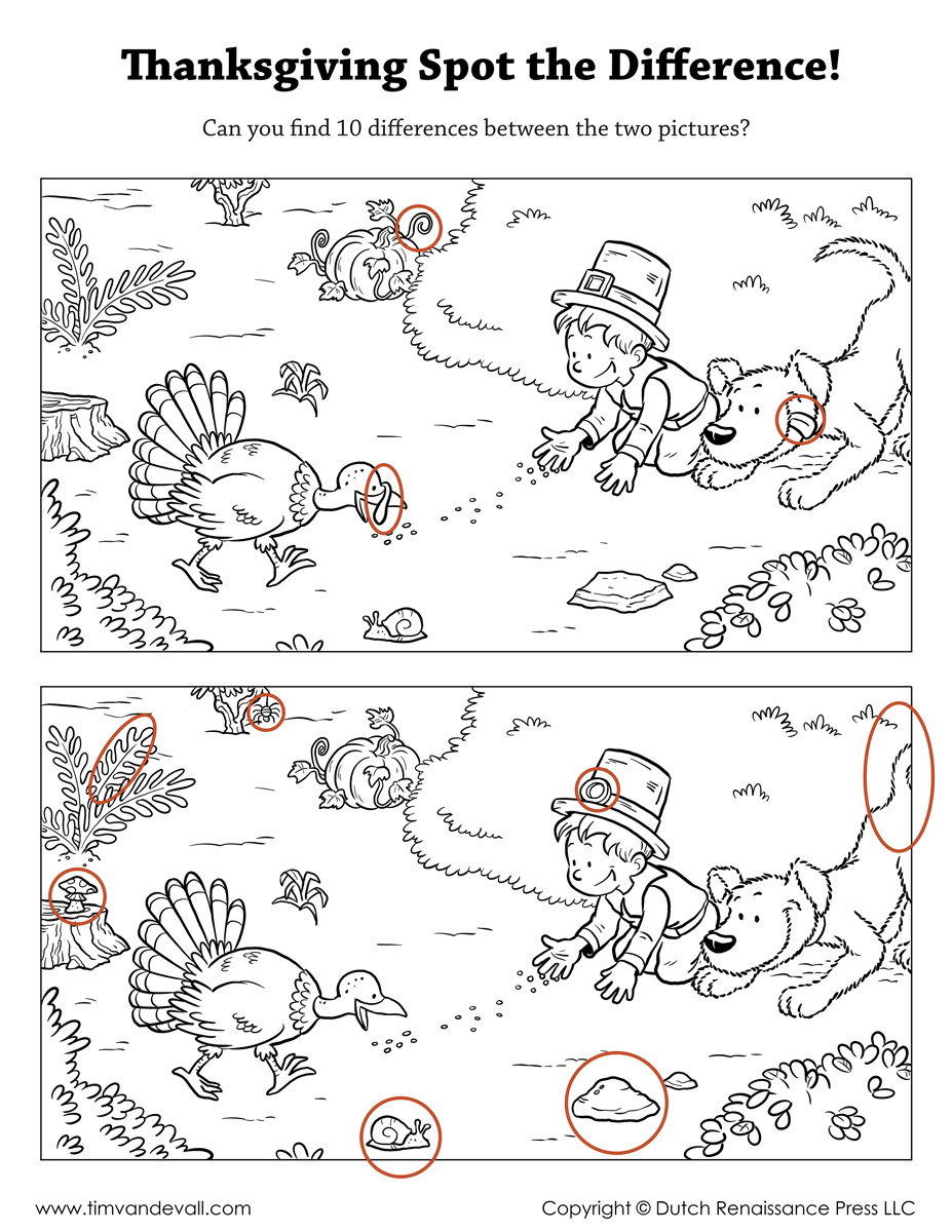 Thanksgiving Spot the Difference - Tim's Printables