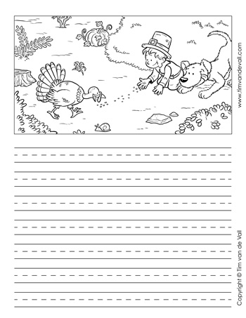 thanksgiving story paper black and white