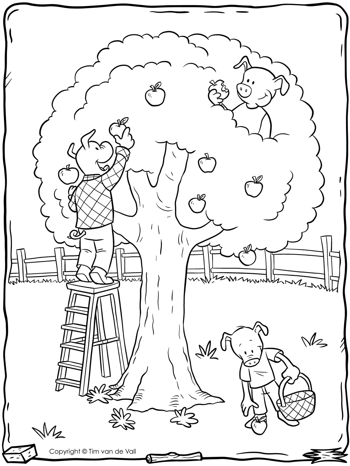 Three Little Pigs Apple Tree Coloring Page Tim S Printables