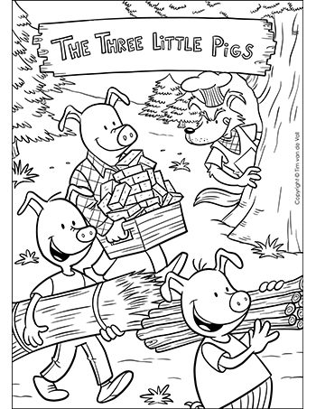The three little pigs coloring page