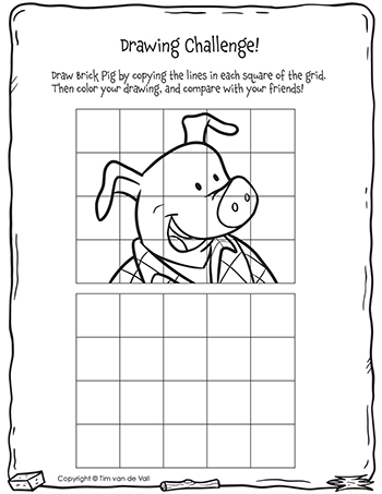 Three Little Pigs Drawing Challenge - Brick Pig - Black & White