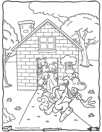 Three Little Pigs Wolf Running Coloring Page