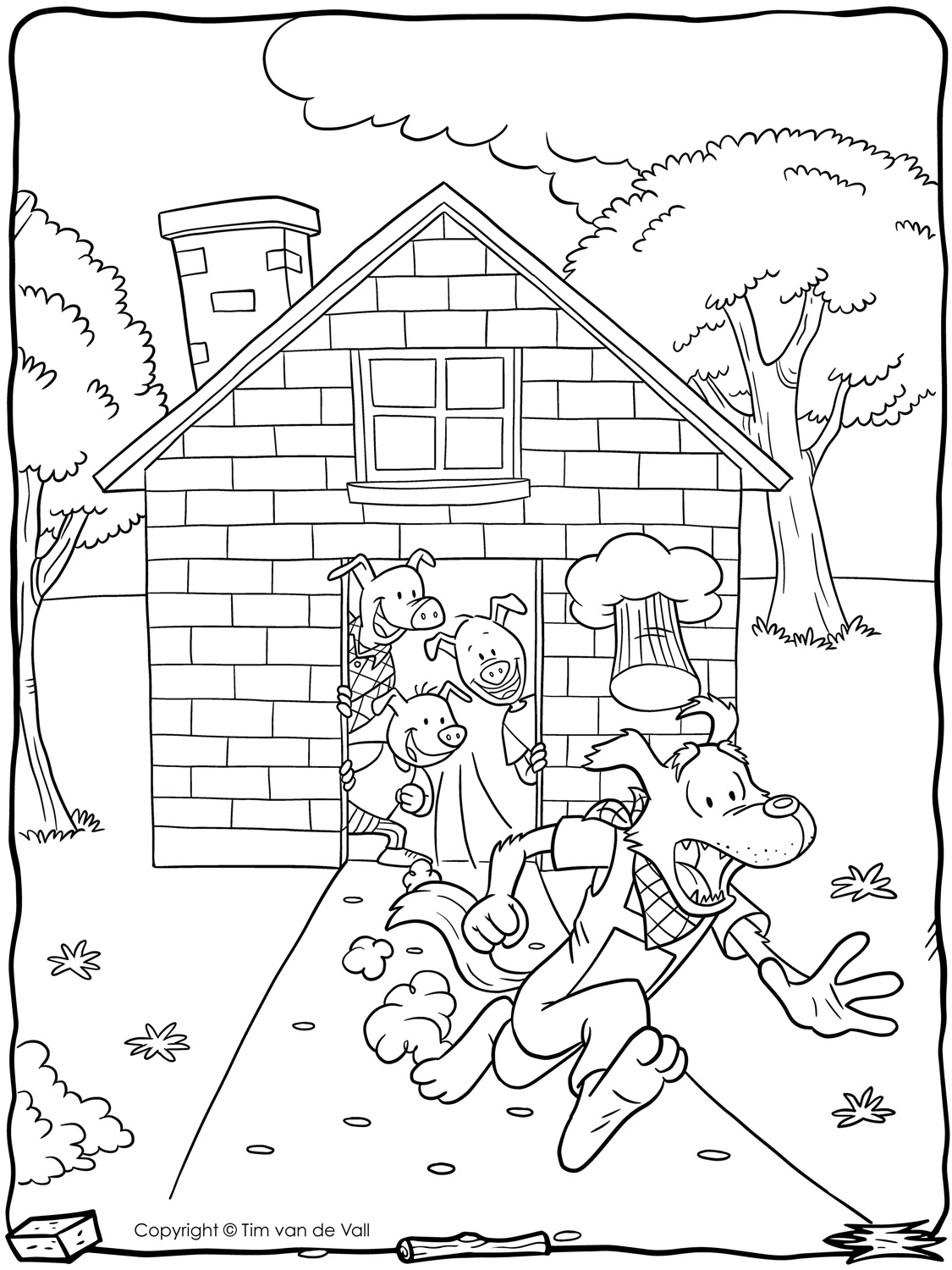 Three Little Pigs Coloring Page - Tim\'s Printables
