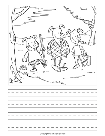 graphic regarding Three Little Pigs Printable named A few Tiny Pigs Creating Template - Tims Printables