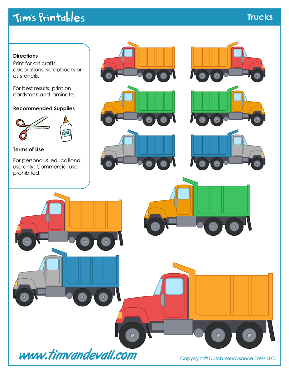 truck templates tim s printables