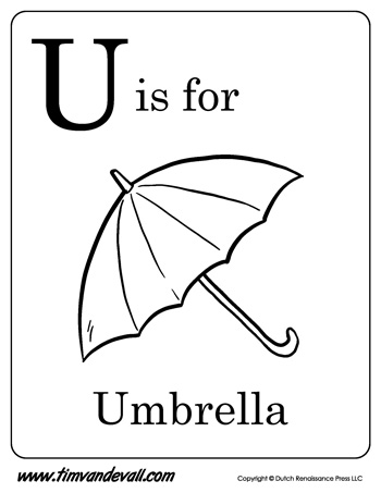 U is for Umbrella | Letter U Coloring Page PDF