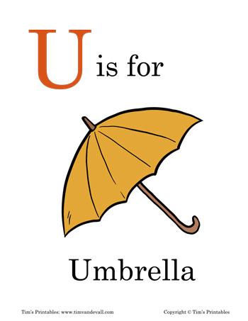 photograph regarding Printable Umbrella named U is for Umbrella Printable - Tims Printables