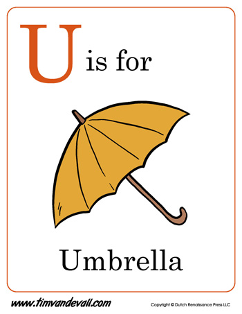 U is for Umbrella  Letter U Coloring Page PDF
