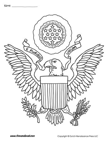 USA Coat Of Arms Coloring Page