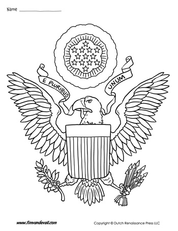 cote of ams coloring pages | USA Coat of Arms Coloring Page - Tim's Printables