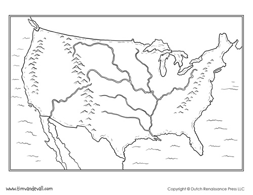 United States Physical Map Us Physical Map With Rivers And Us - Us map line drawing