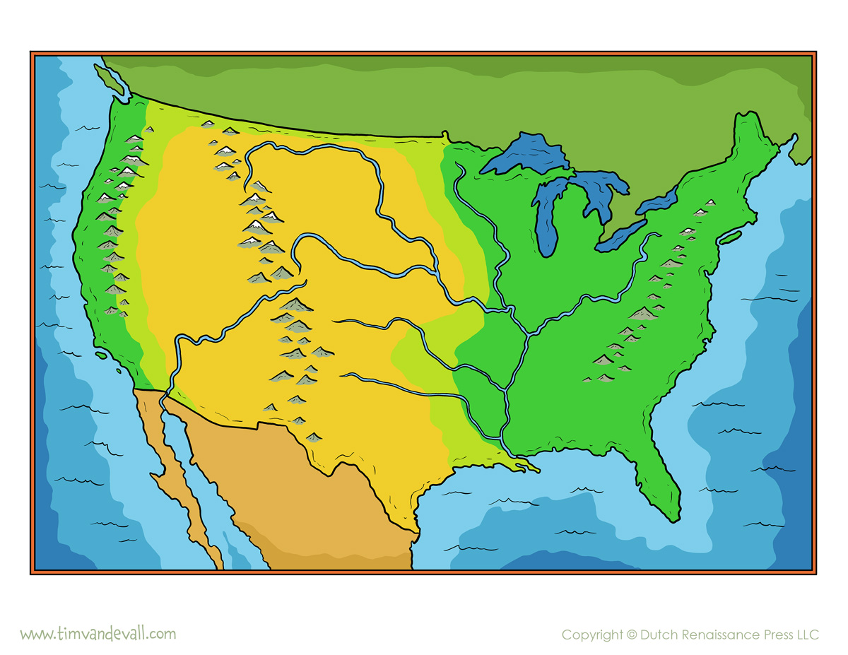Outline Map Of Us Globalinterco - Mountain ranges in us map