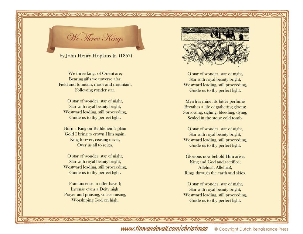 We three kings lyrics printable christmas lyrics we three kings lyrics printable stopboris Gallery