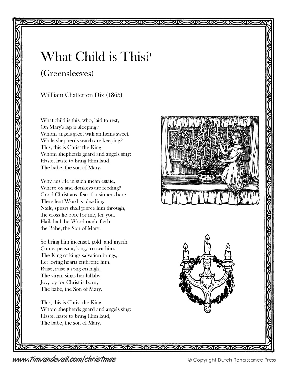 What Child is This Greensleeves Lyrics Tim 39 s Printables