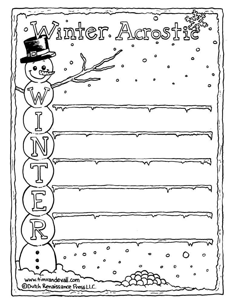 Winter acrostic poem black white tims printables a winter acrostic poem template featuring a snowman pronofoot35fo Choice Image