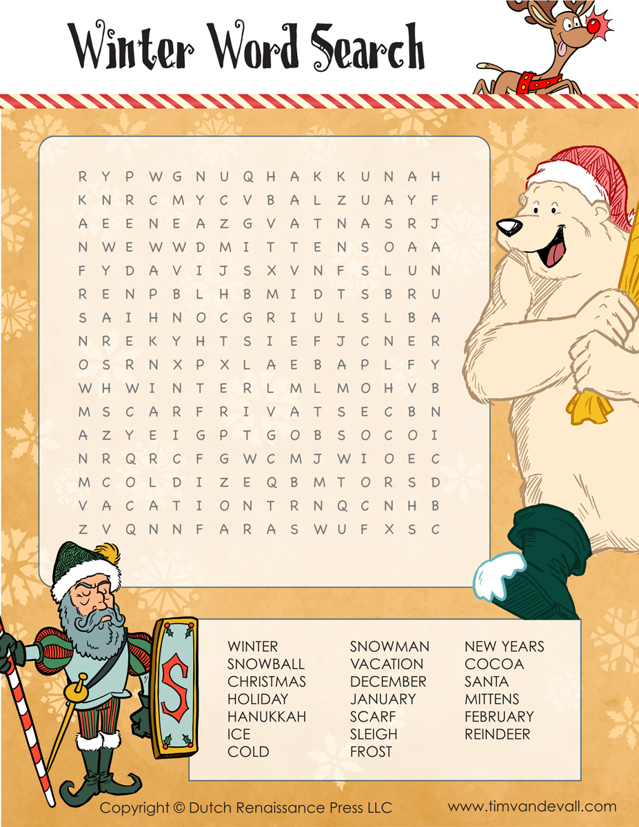 photo regarding Winter Word Search Printable known as Printable Wintertime Phrase Glimpse for Children - Tims Printables
