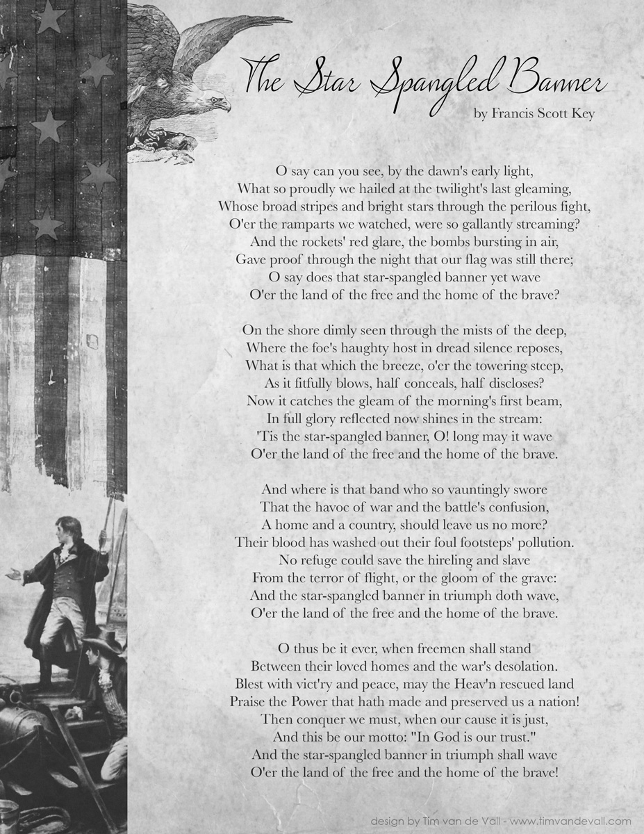 This is a picture of Handy Star Spangled Banner Lyrics Printable