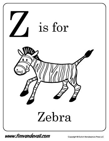 Z is for Zebra Printable - Tim van de Vall
