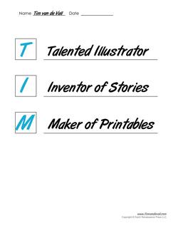 image about Printable Acrostics identified as Tim van de Vall Printable Acrostic Poem Templates for Children