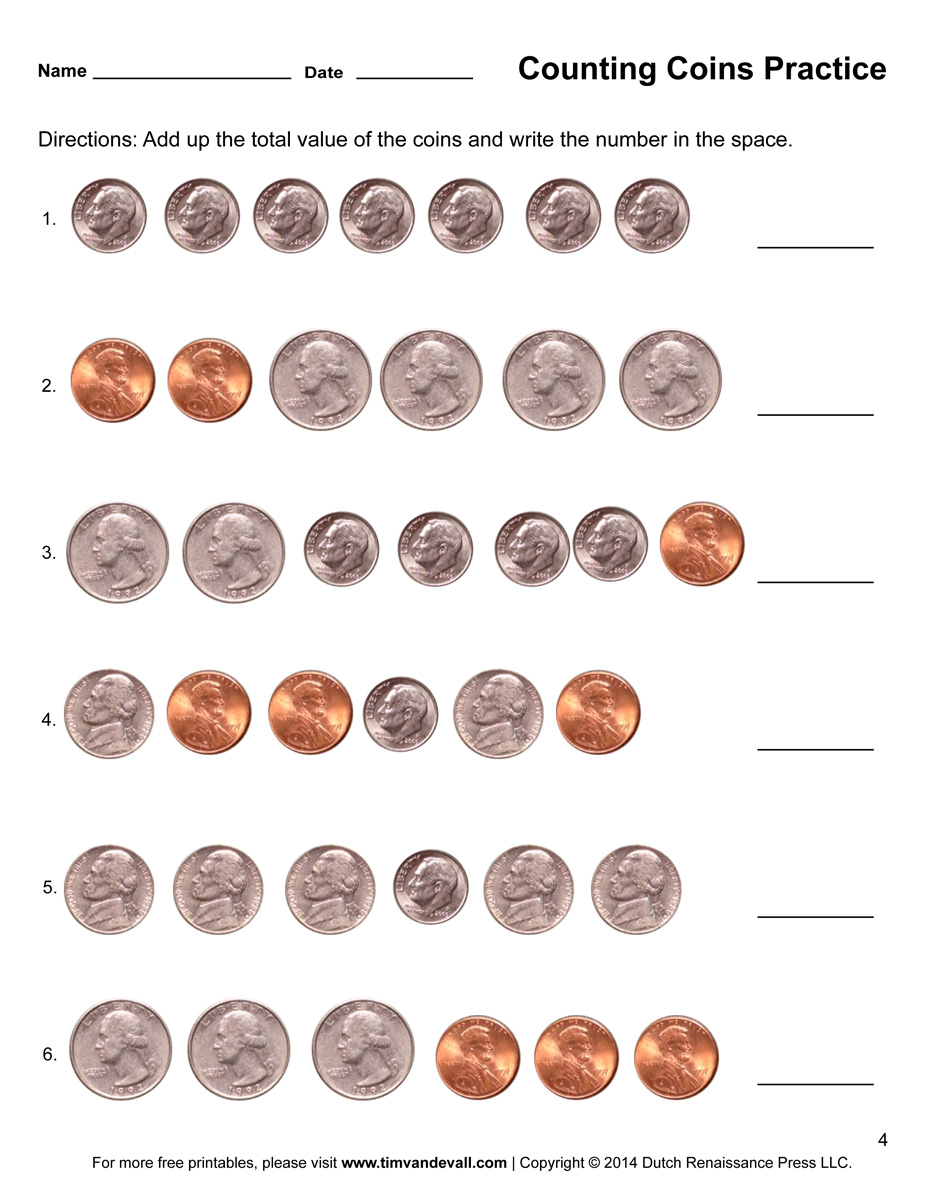Coin identification worksheets 1st grade