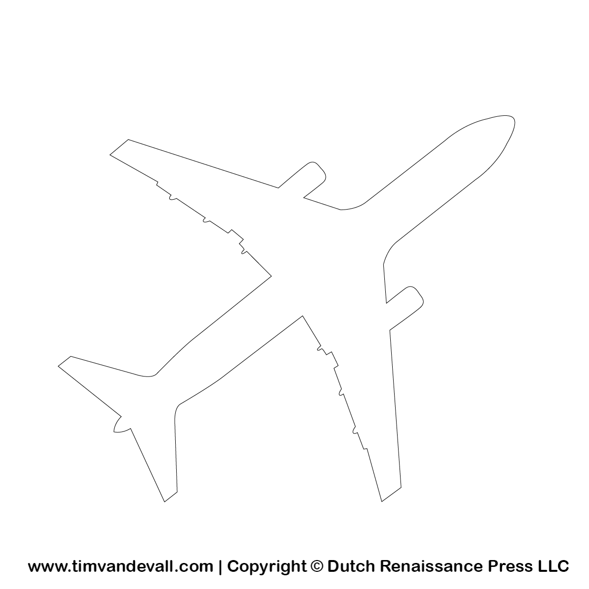 Free airplane silhouette stencil and outline clipart for for Airplane cut out template