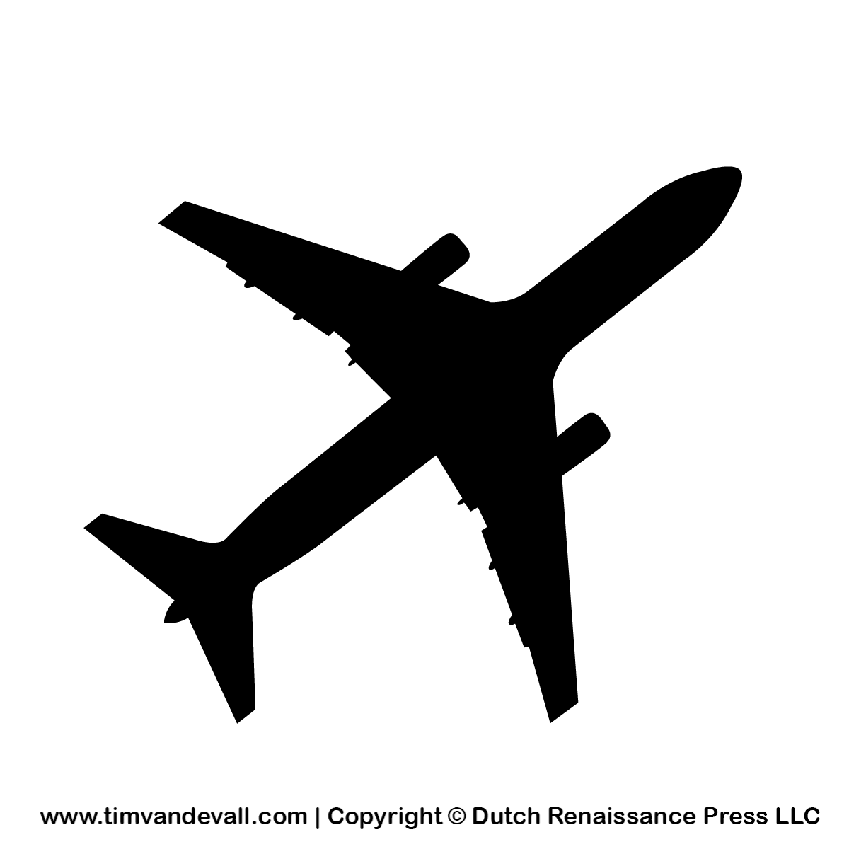 Free Airplane Silhouette Stencil And Outline Clipart For