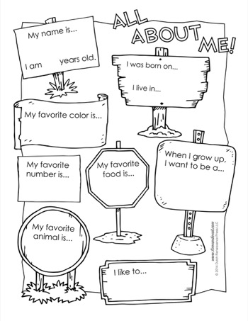 All About Me Worksheet - Tim's Printables