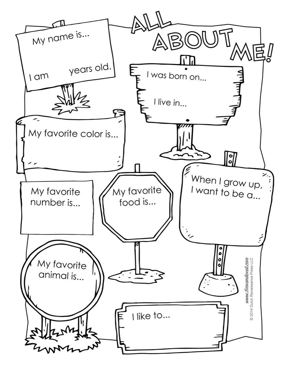 worksheet Myself Worksheet For Kindergarten all about me worksheet printable free poster