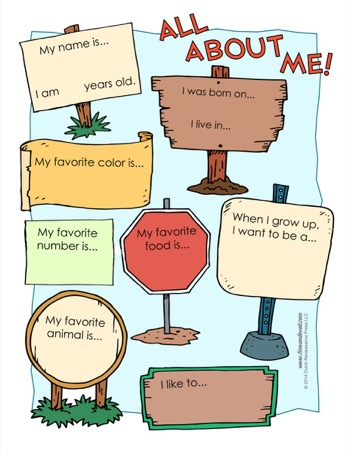Witty image inside all about me printable worksheet