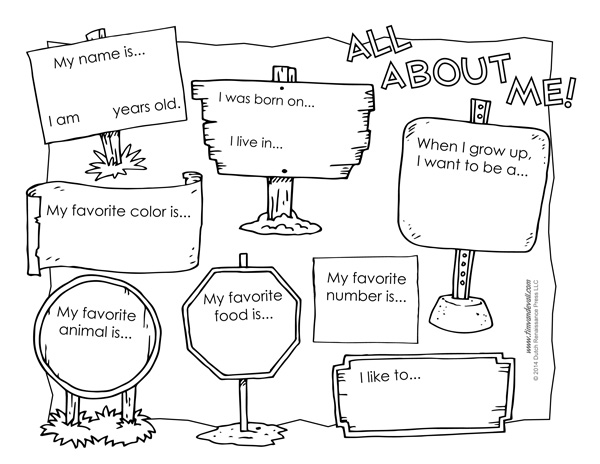 image about All About Me Printable titled All Concerning Me Worksheet Printable