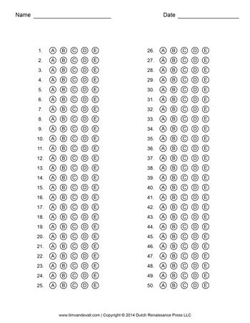 Answer Sheet Template 1 Tims Printables