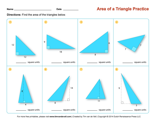Area of a Triangle Worksheets Third Grade Math Worksheets – Math Worksheets Area