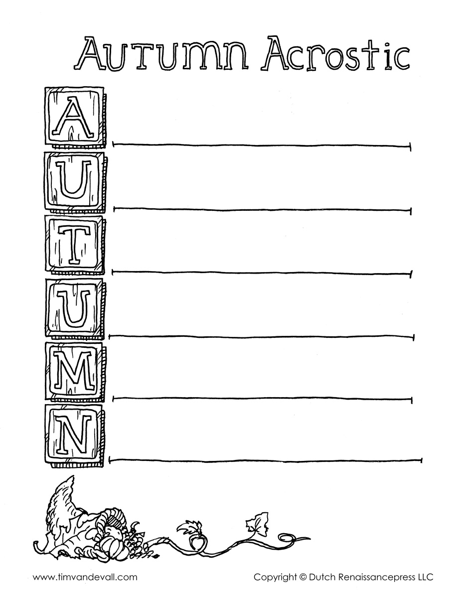 Autumn acrostic poem template bw tims printables categories acrostic poems fall halloween templates thanksgiving pronofoot35fo Choice Image