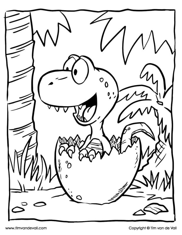 Baby Dinosaur Coloring Page - Tim's Printables